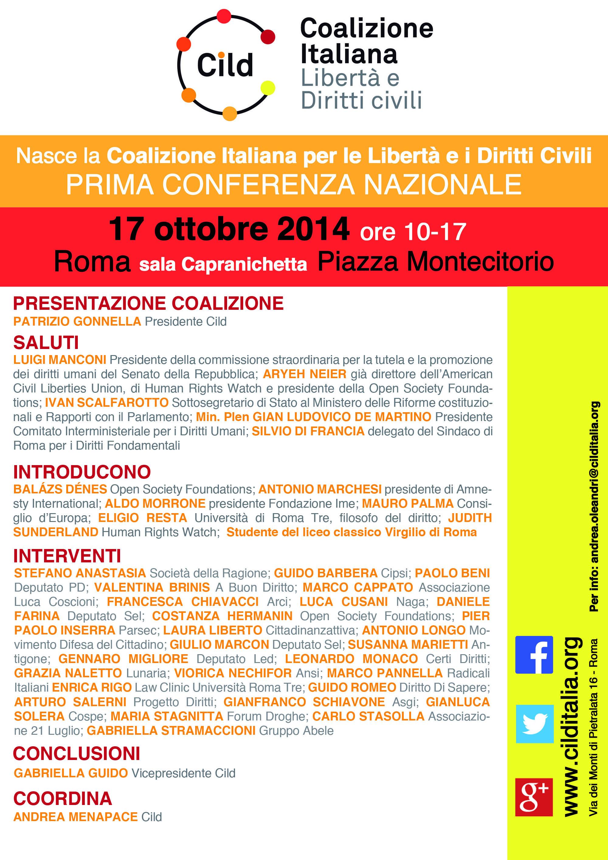 Nasce la Coalizione Italiana per le Libertà e i Diritti civili. Il 17 ottobre la prima conferenza pubblica