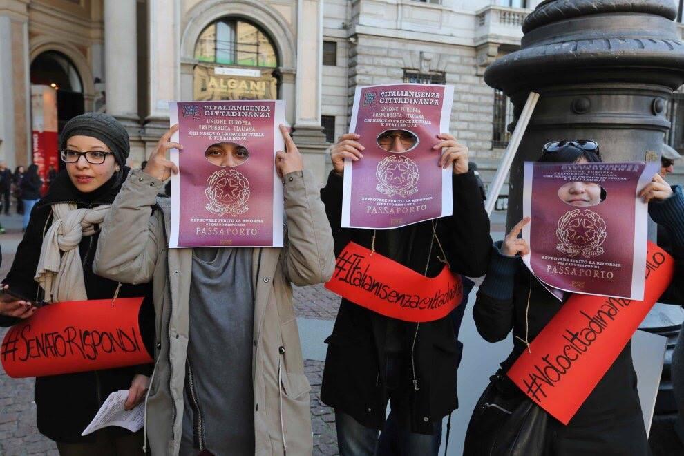 Manifestazione a Milano per chiedere l'approvazione della legge sulla cittadinanza. Credit: L'Italia sono anch'io