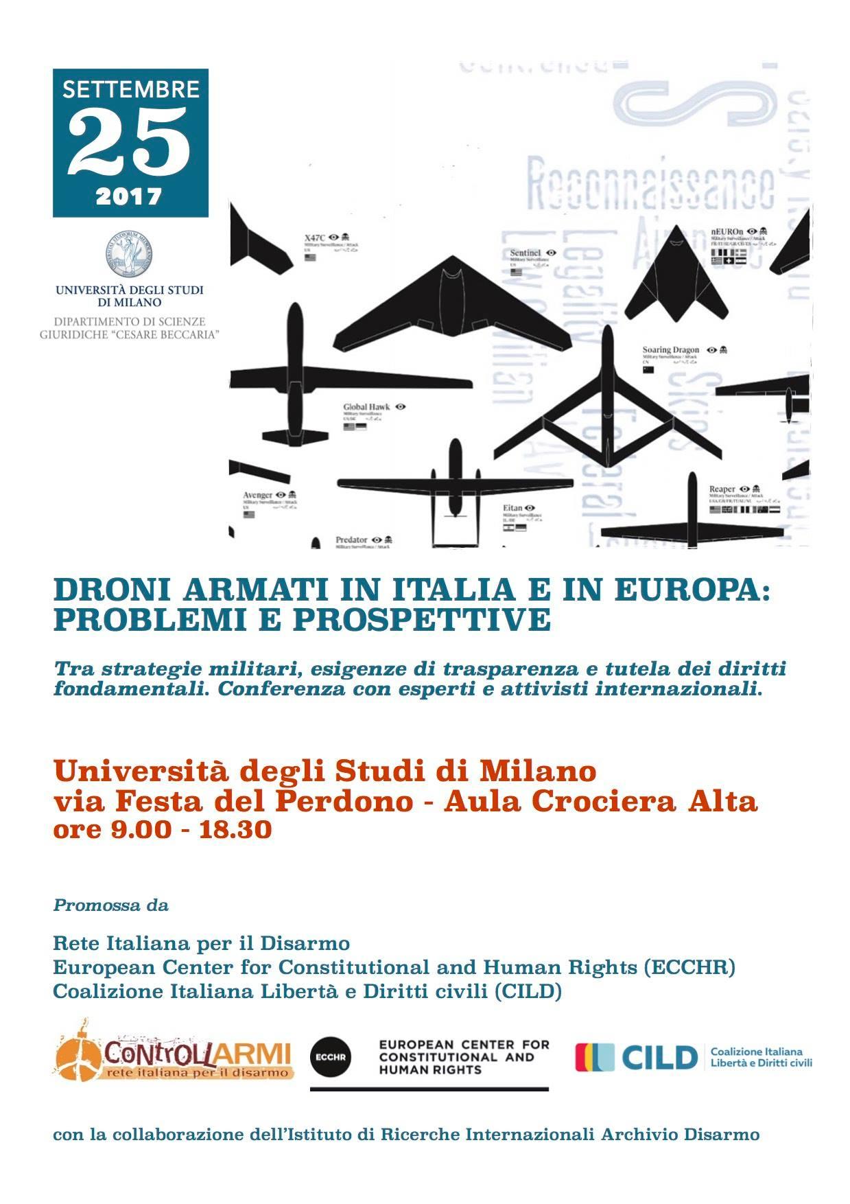 Droni armati: il programma della conferenza (Milano, 25 settembre)