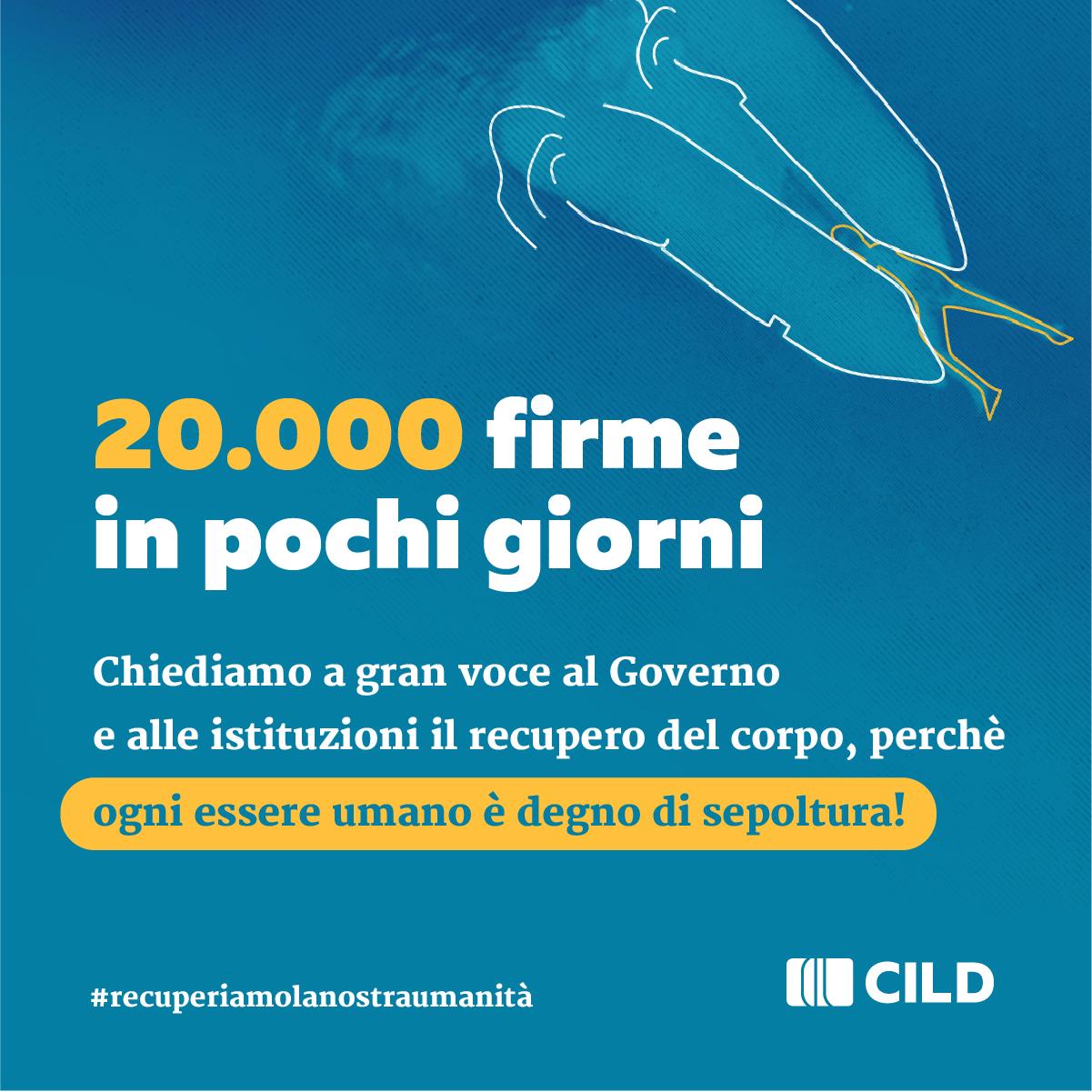 Cild scrive al Governo per recuperare il corpo senza vita lasciato in mare